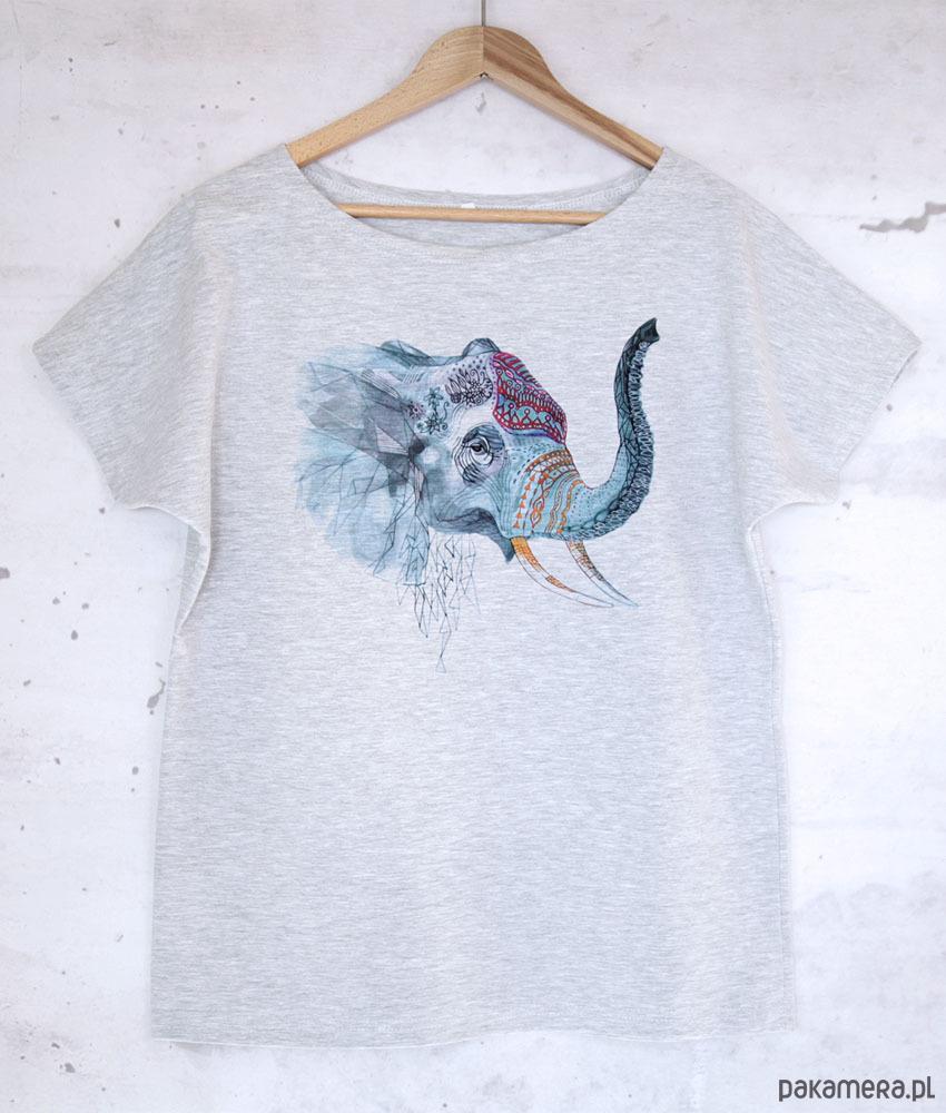 SŁOŃ koszulka bawełniana szara z nadrukiem