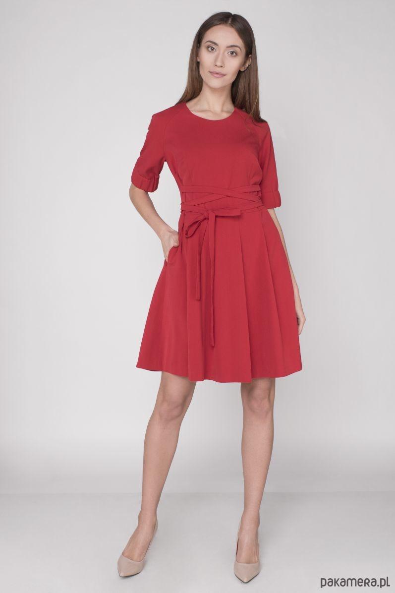 Sukienka sznurowana czerwona