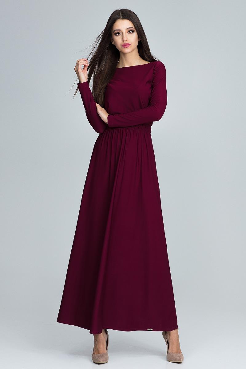 Sukienka maxi m604 bordo
