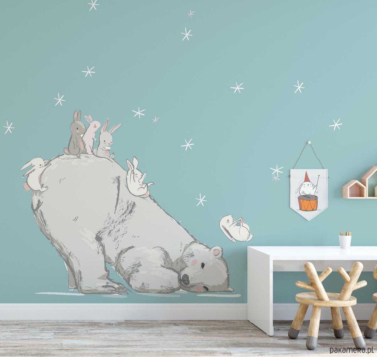 Naklejka Scienna Mis Polarny I Kroliczki Pokoj Dziecka