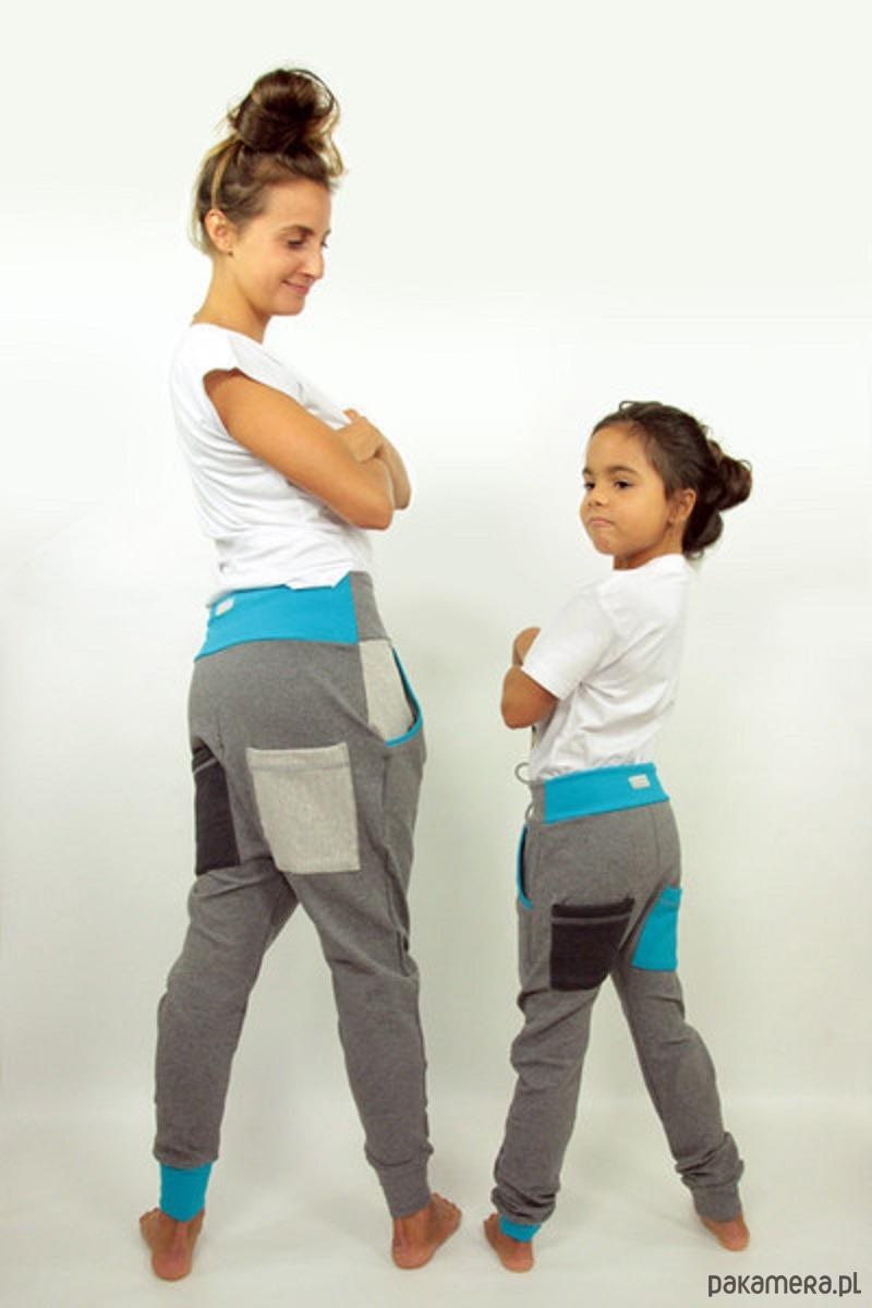 Spodnie Duet - mama i dziecko (szary + turkus)