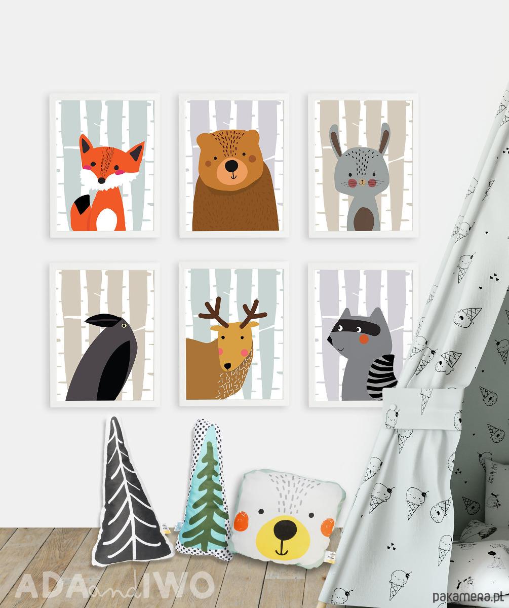6 Grafik Zwierzęta Leśne Z Białymi Brzozami Pakamerapl