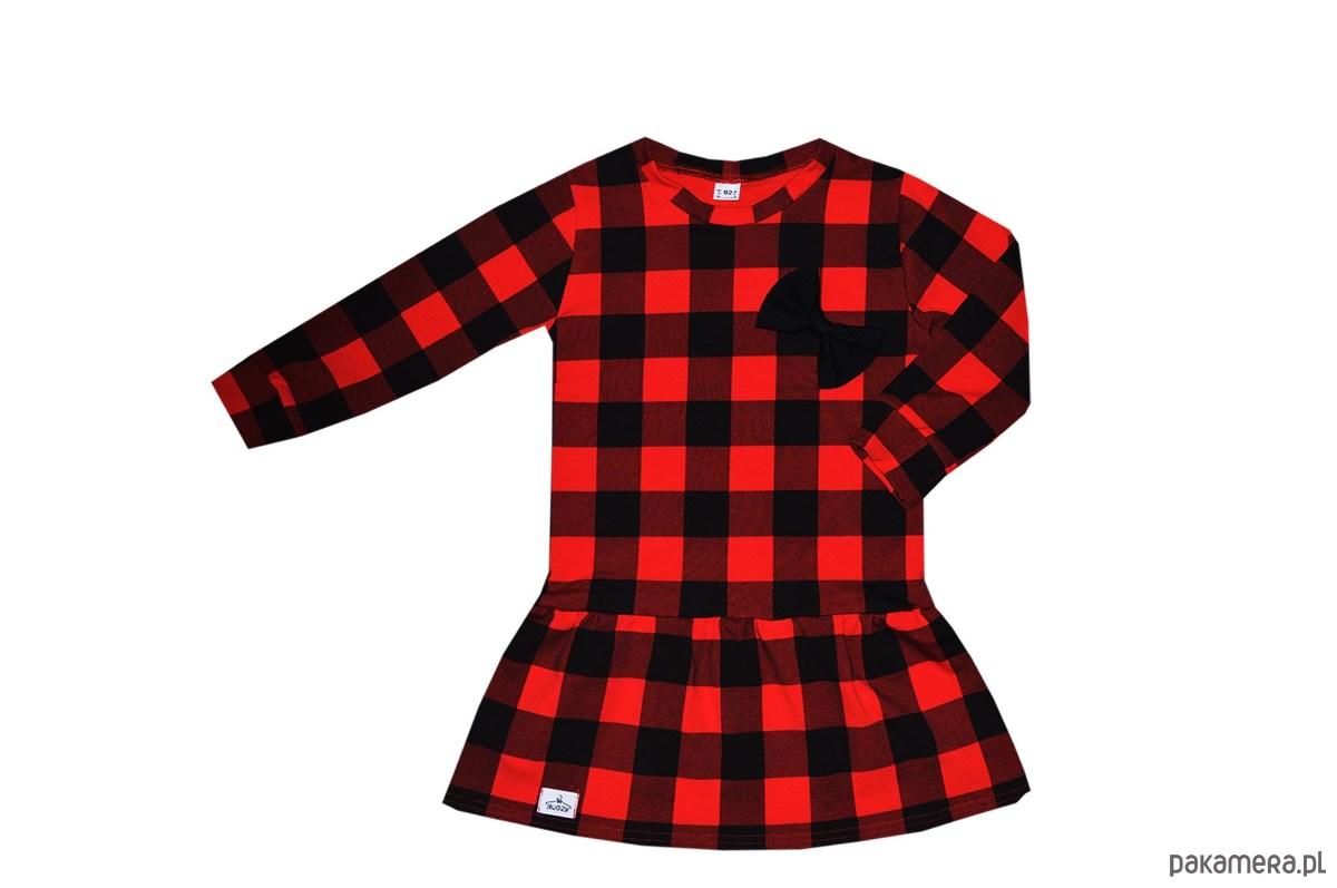 09e6bcd48d dziewczynka - sukienki-Sukienka w czerwono-czarną kratę 68-134   BUGZY