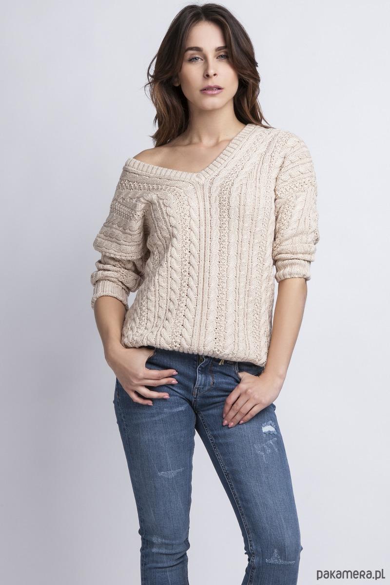 Sweter z dekoltem V, SWE079 beżowy MKM