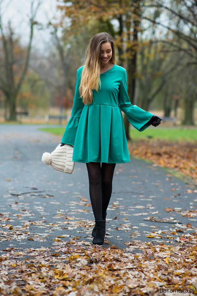 Sukienka z bufkami II Zielona