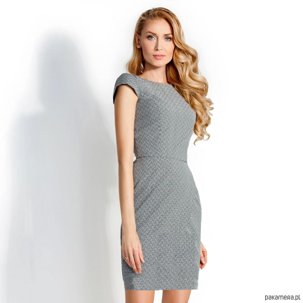 Sukienka Ołówkowa Sara Biało-Czarna