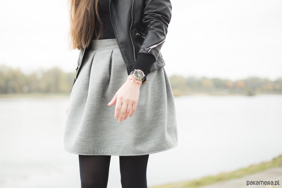 Szara spódnica z zakładkami spódnice mini Pakamera.pl