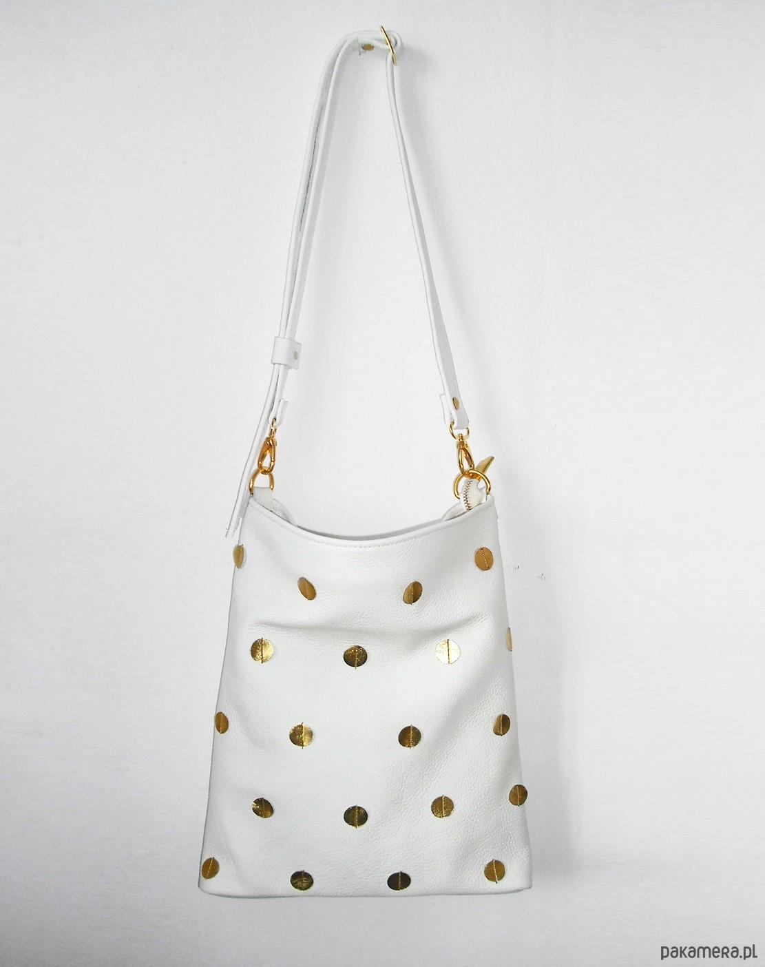 4c5bbe1c601c9 TORBA W ZŁOTE KROPKI skóra naturalna - torby na ramię - damskie ...