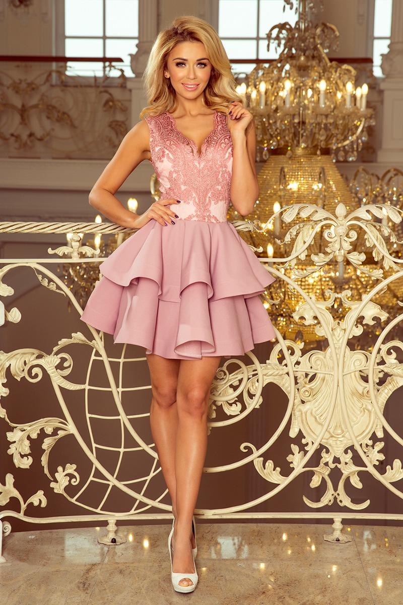 Sukienka CHERRY koronkowa rozkloszowana pudrowa