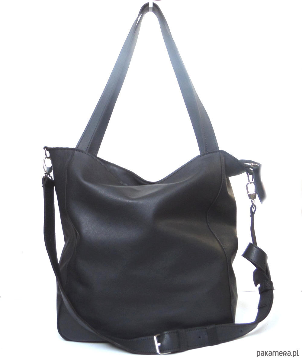 32d1239c36fd9 Czarna miękka skórzana torba - torby na ramię - damskie - Pakamera.pl