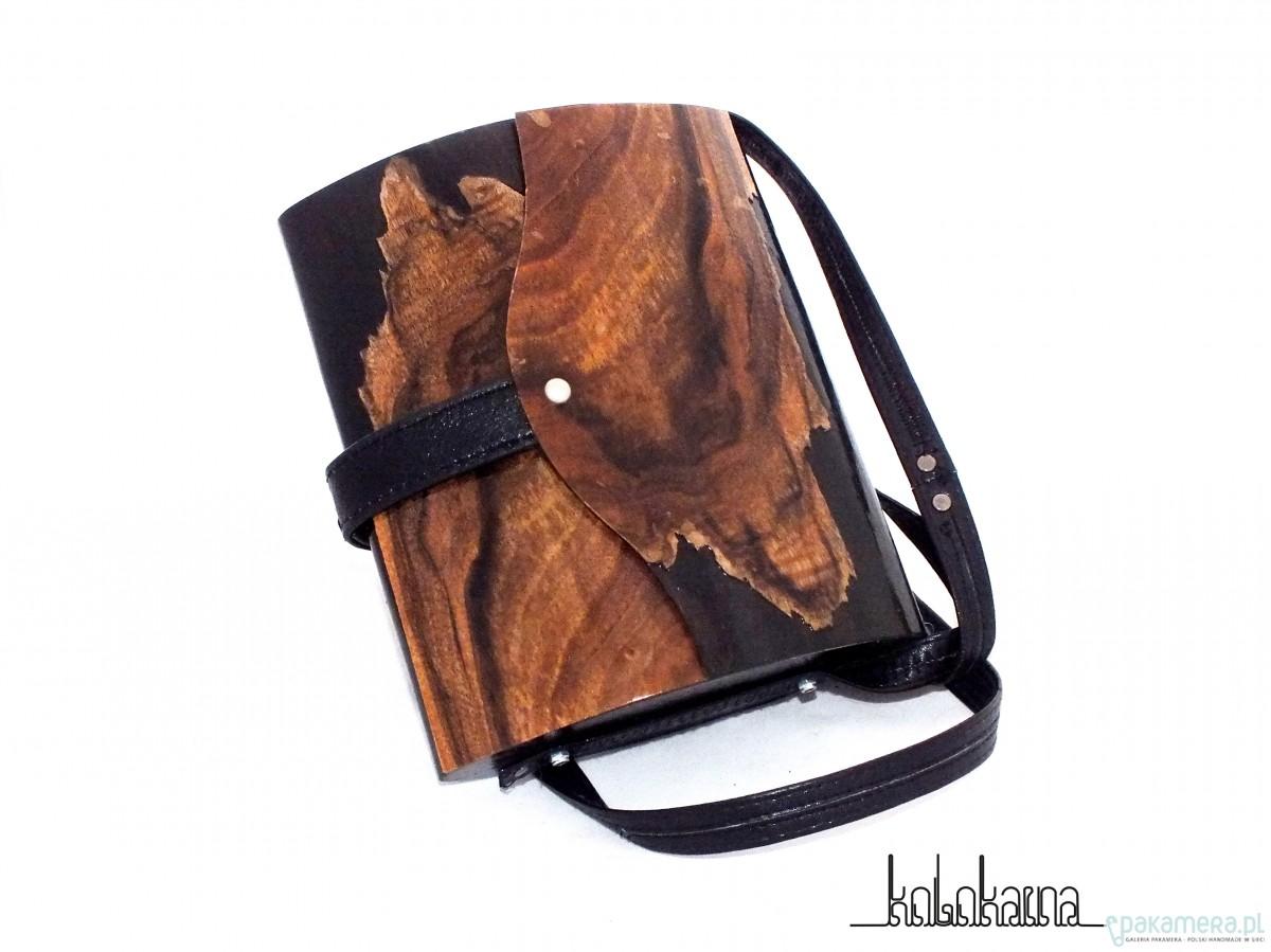 Unikatowa drewniana torebka damska z kotem