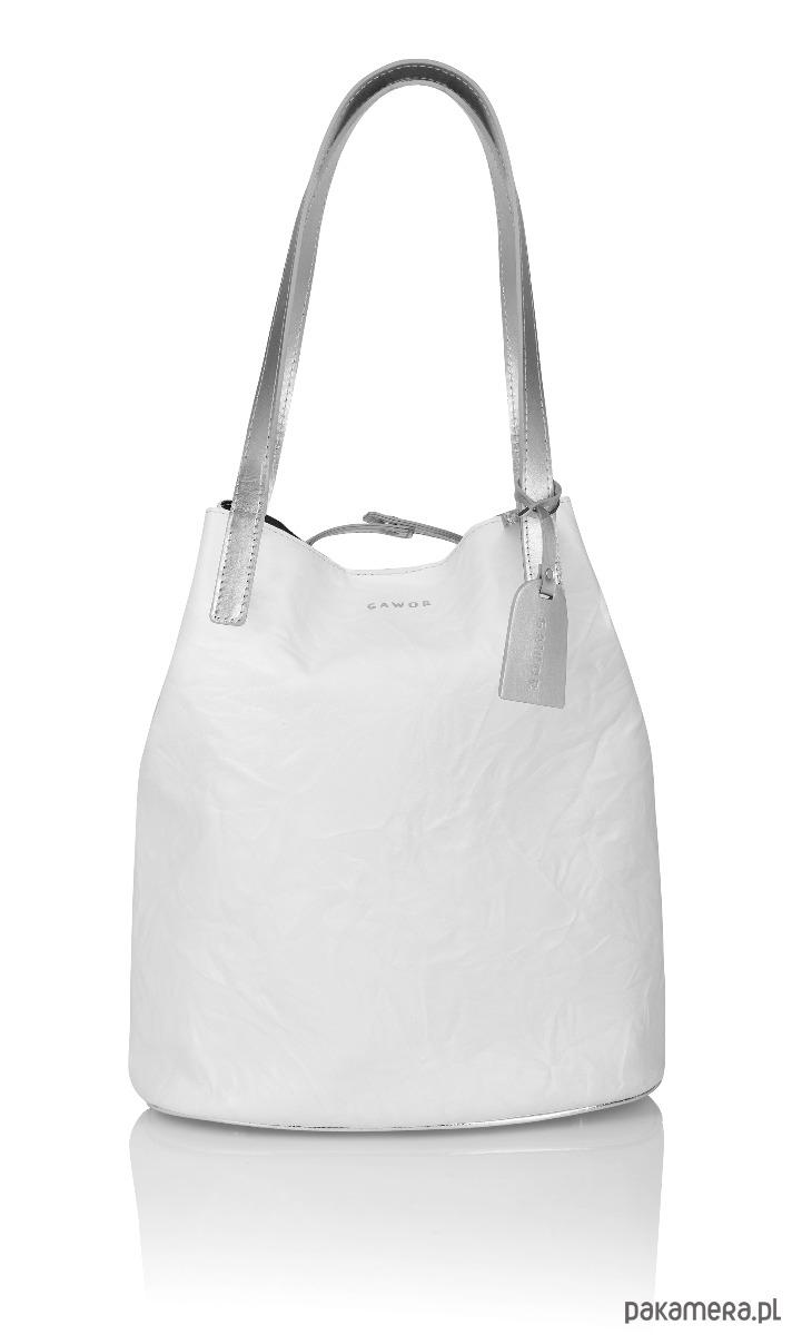 7299508973c66 torby na zakupy - damskie-Skórzany biały worek Sofia srebrne dodatki