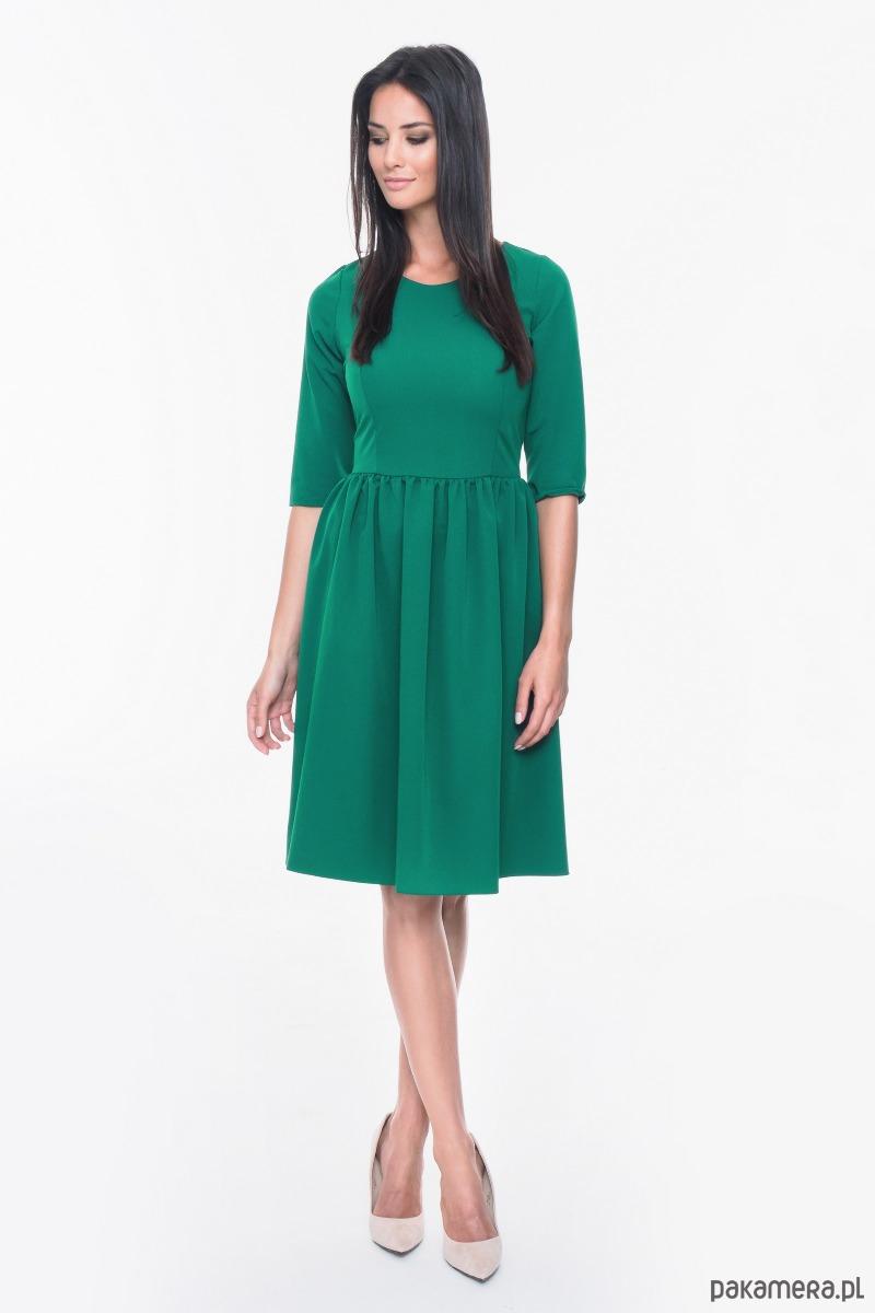 Sukienka wizytowa rozkloszowana M019 Zielona