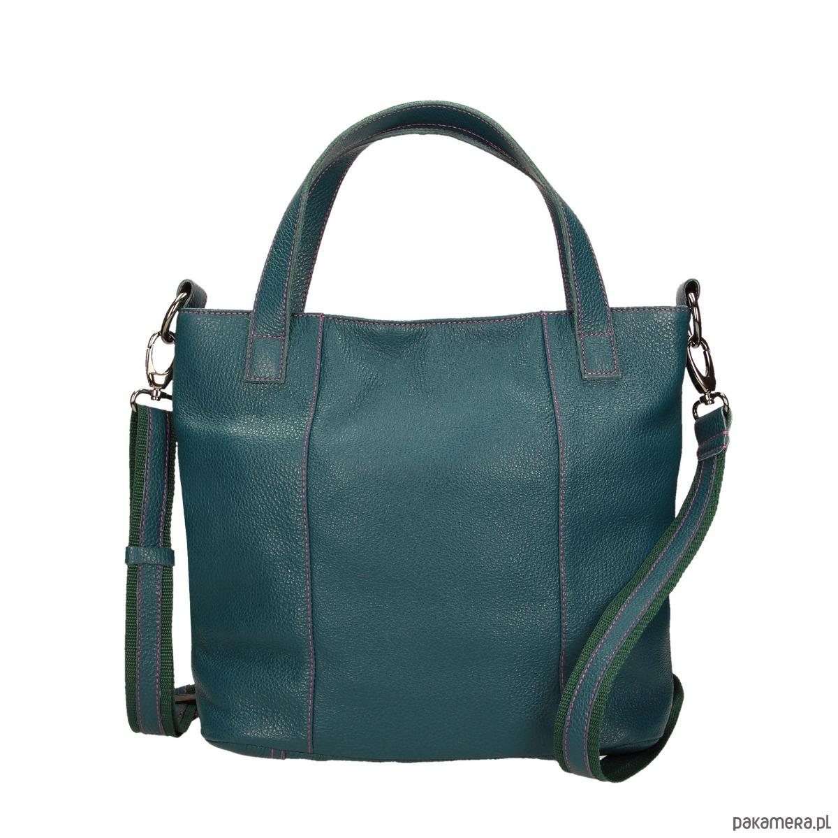 637d758a9db0a torby na ramię - damskie-Torebka skórzana zielona Avanzata M marki Bolsa