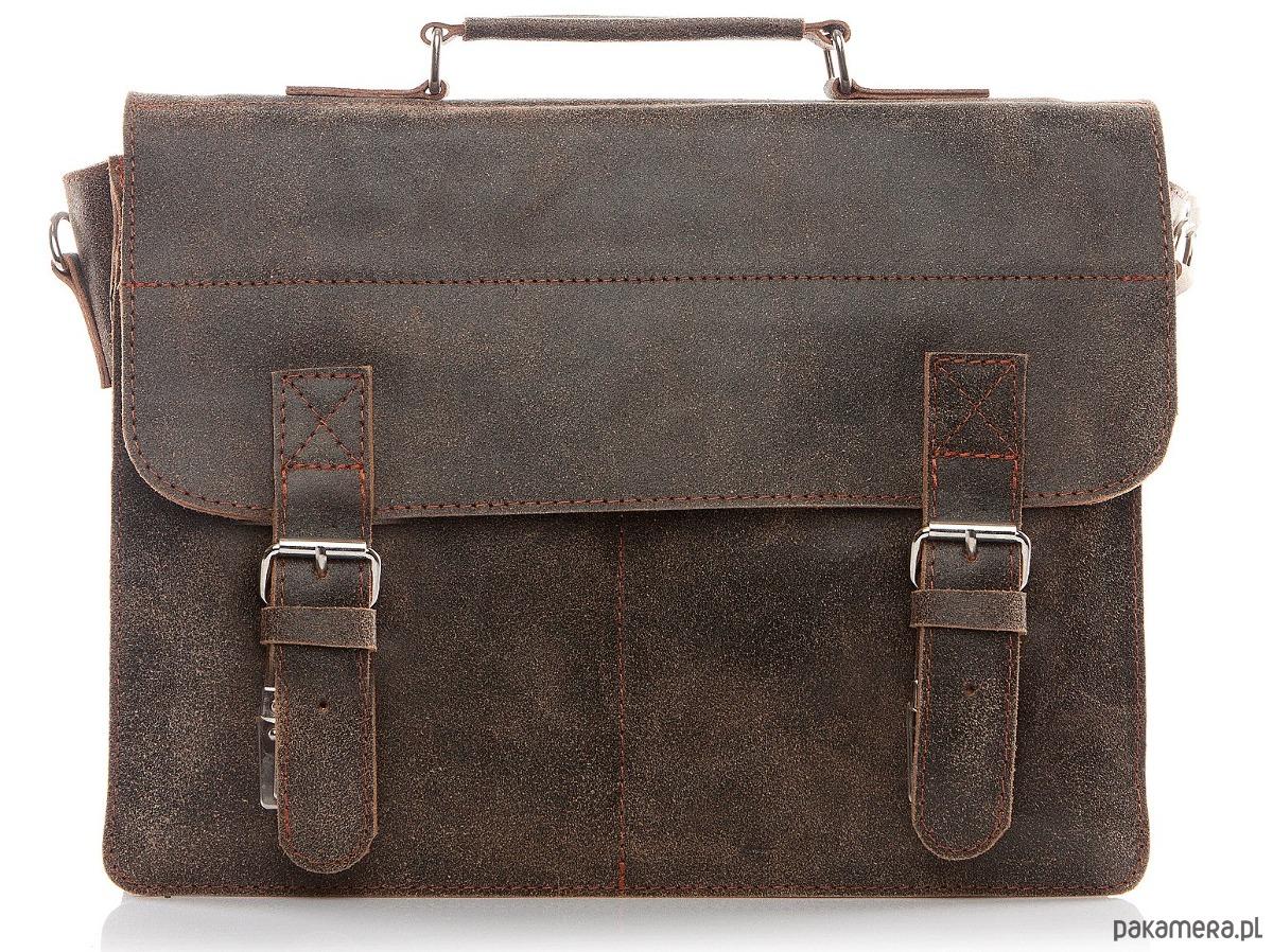 102eb832f0935 akcesoria - torby i nerki - męskie-Torba skórzana męska na ramię brązowa  Belveder