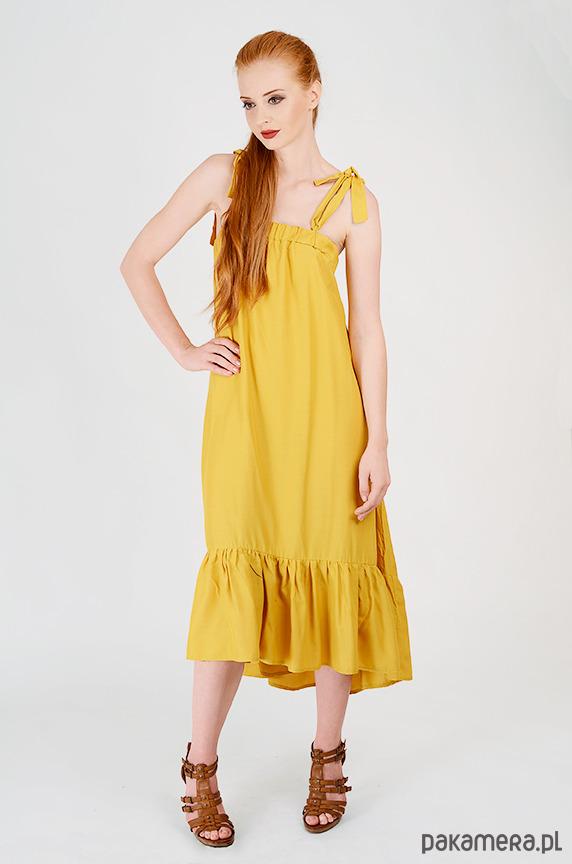 591700816f żółta sukienka z falbanką - sukienki - midi - Pakamera.pl