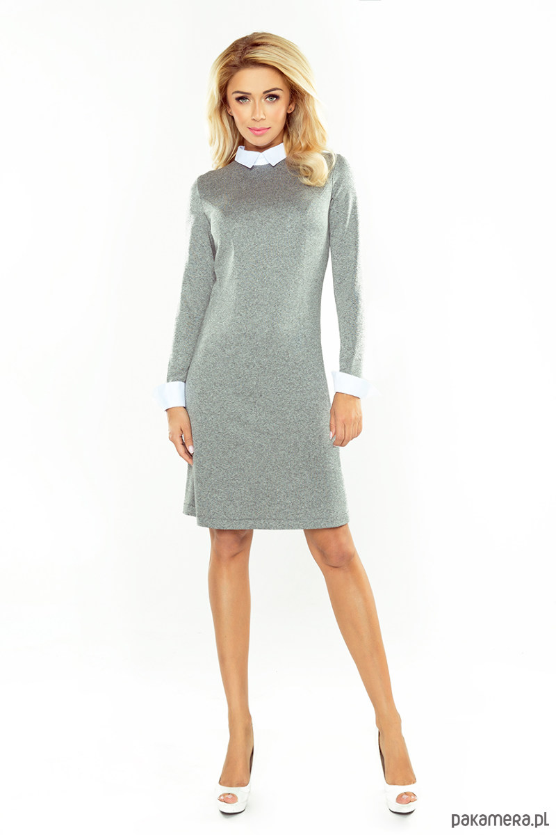 Sukienka z kolnierzykiem szara ELLE