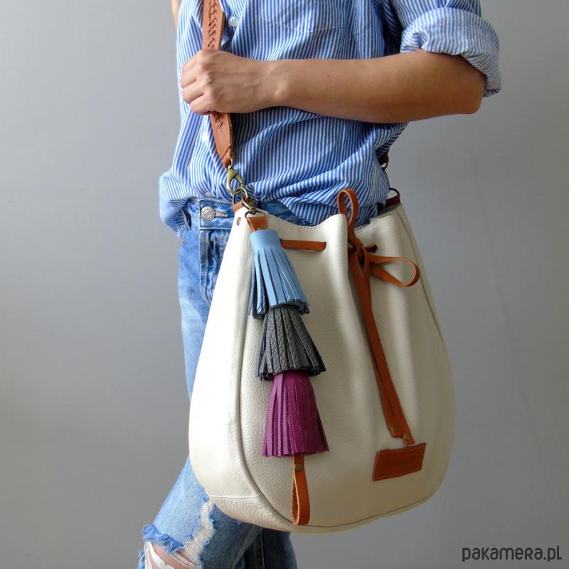 c1e33e493479a torby na ramię - damskie-Torebka torba skórzana BAGBOHO kremowa worek
