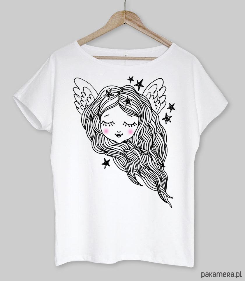 ANIOŁEK koszulka bawełniana biała z nadrukiem