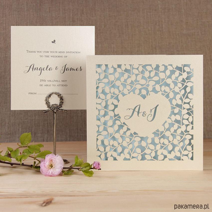 Zaproszenia ślubne Koronki Listki ślub Zaproszenia Kartki