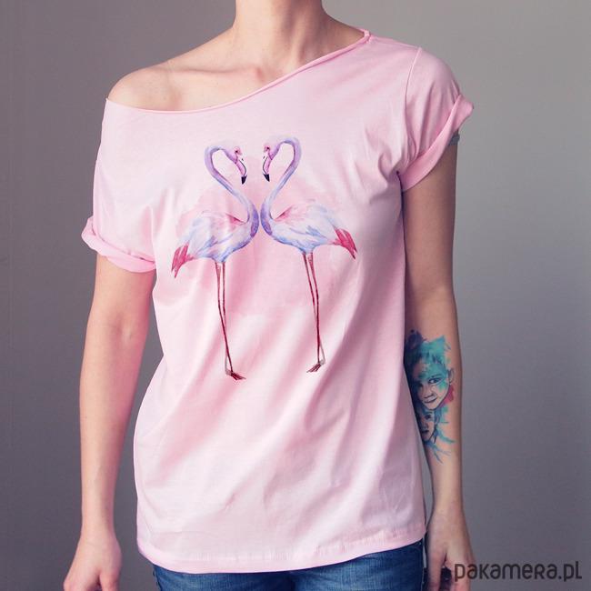 Flamingi jasnoróżowy krótki Oversize