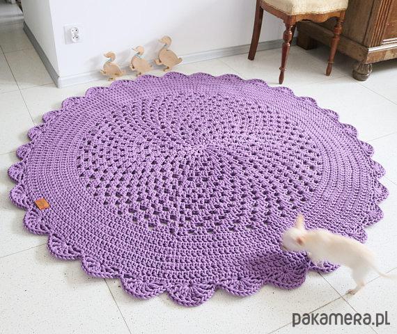 Dywan okrągły ażurowy fioletowy kolory
