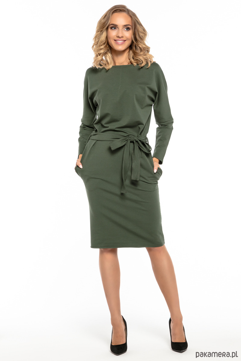 5a509e52 Luźna sukienka z paskiem, model T250, zielony - Pakamera.pl