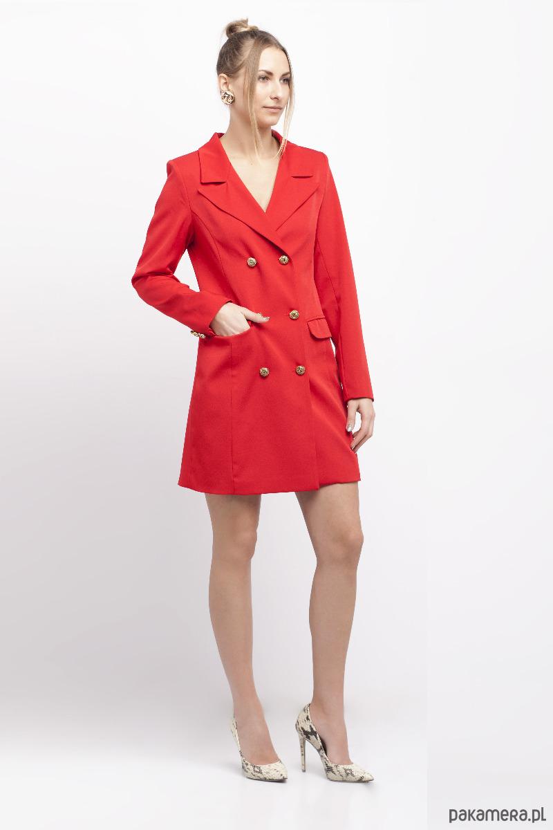 b27d65759c Czerwona sukienka o kroju marynarki - sukienki - mini - Pakamera.pl