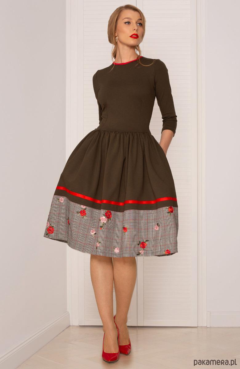 53b719fe21 SUKIENKA ROZKLOSZOWANA Khaki - sukienki - midi - Pakamera.pl