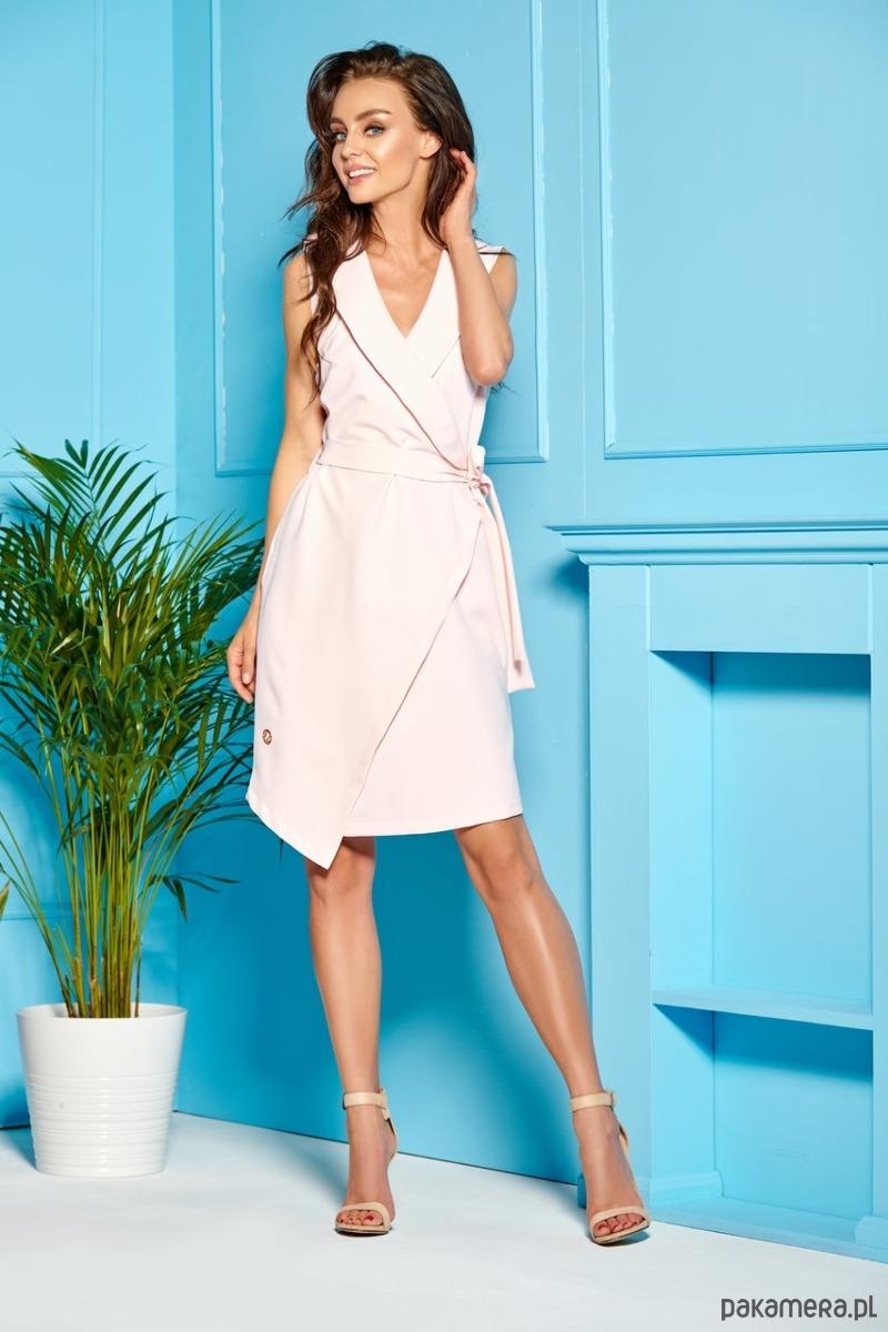 Sukienka kopertowa bez rękawów -L308 pudrowy
