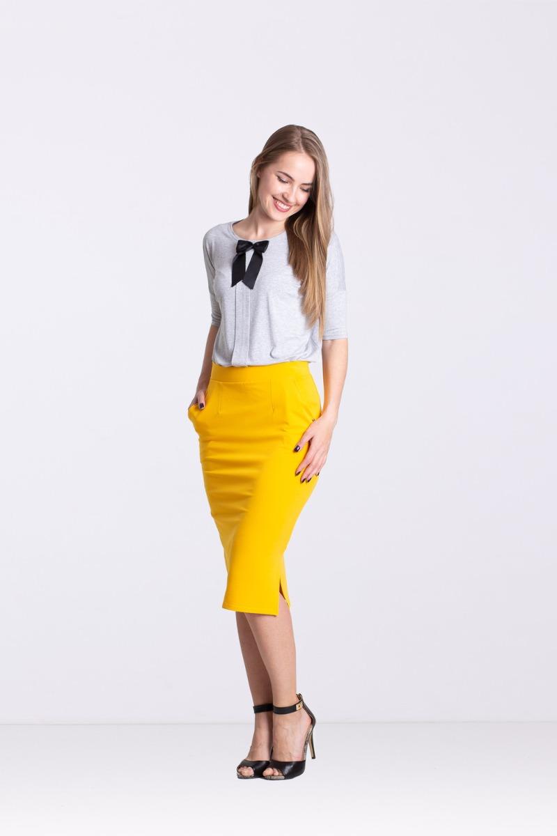 Spódnica z rozporkiem -żółta