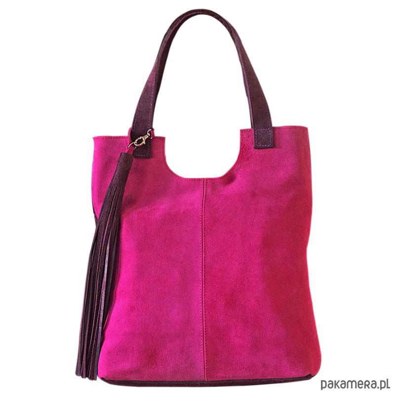 bbe082df666ba Duża, różowa skórzana damska torba na ramię - torby na ramię - damskie -  Pakamera.pl