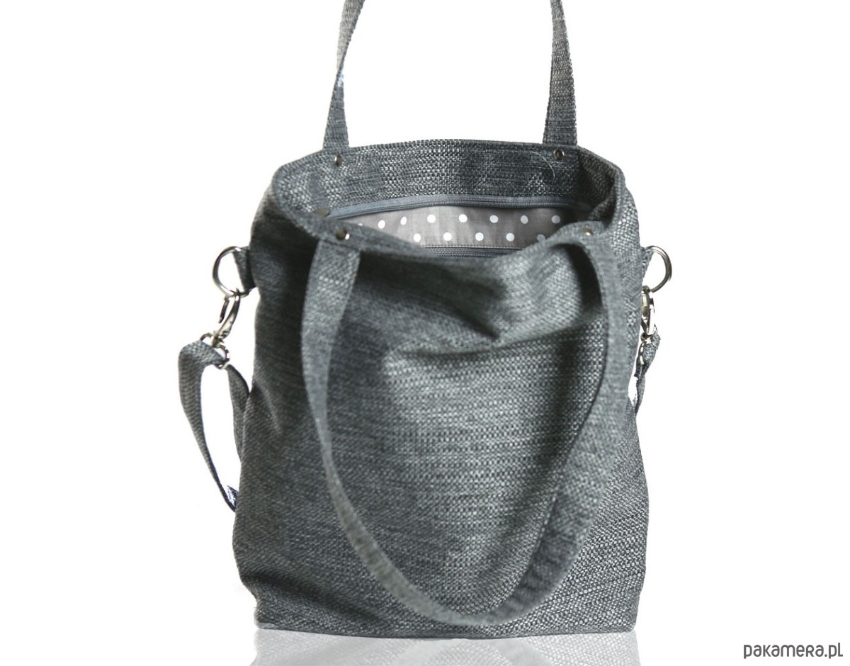 7d1c2650b4847 Szara prostokątna torebka do pracy A4 - torby na ramię - damskie ...