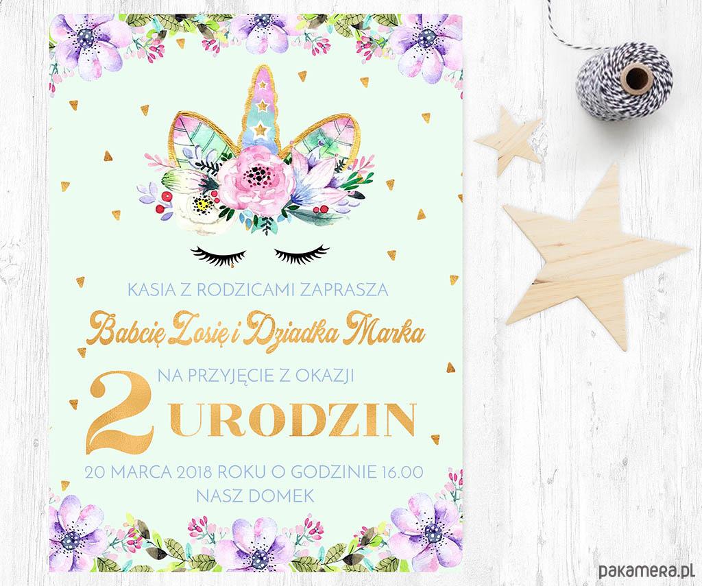Zaproszenie Urodziny Jednorożec W Kwiatach Dziecko Kinderbal