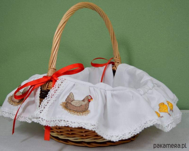Koszyk Wielkanocny KURA haftowany - 2034002