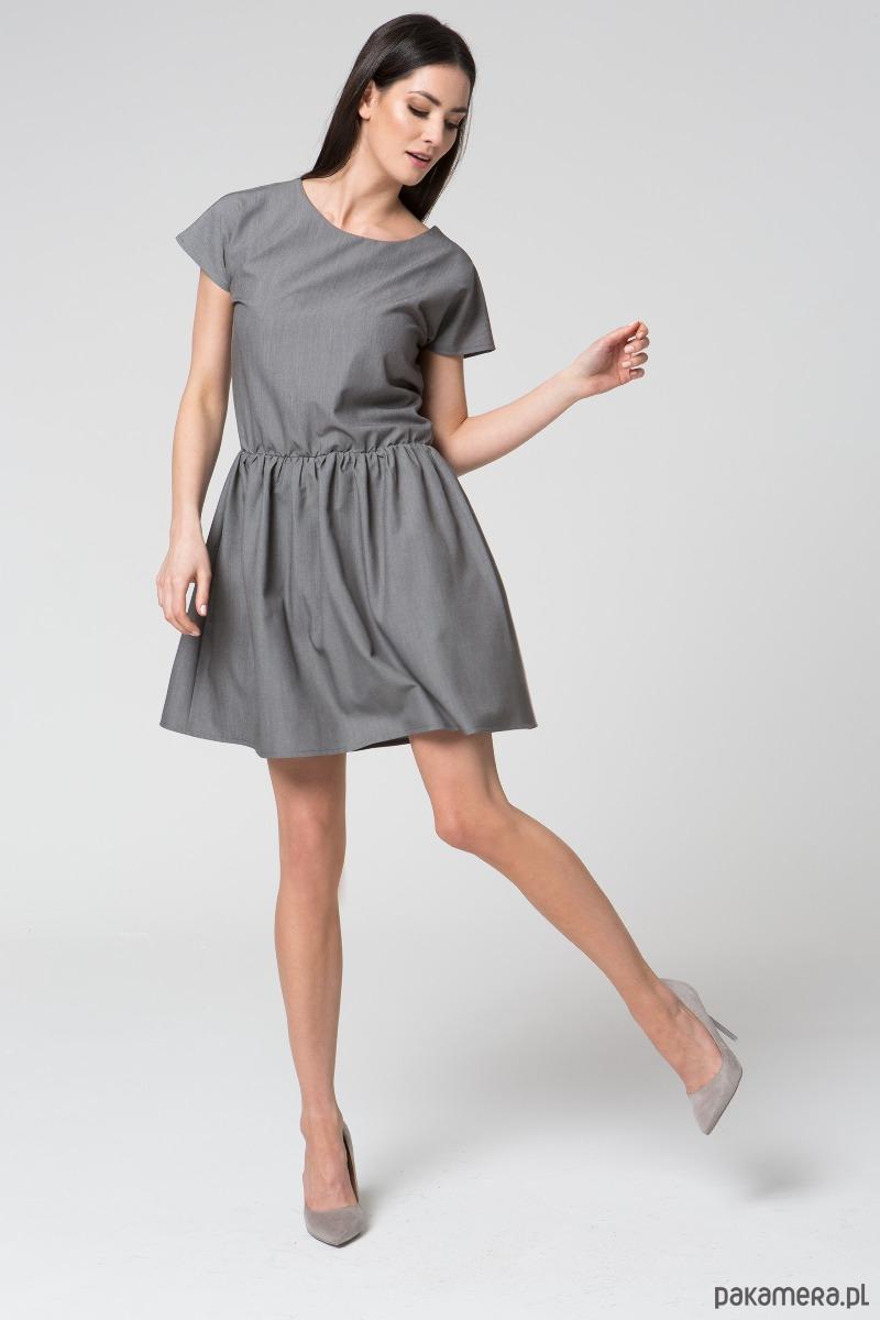 Sukienka midi rozkloszowana M022 Szara