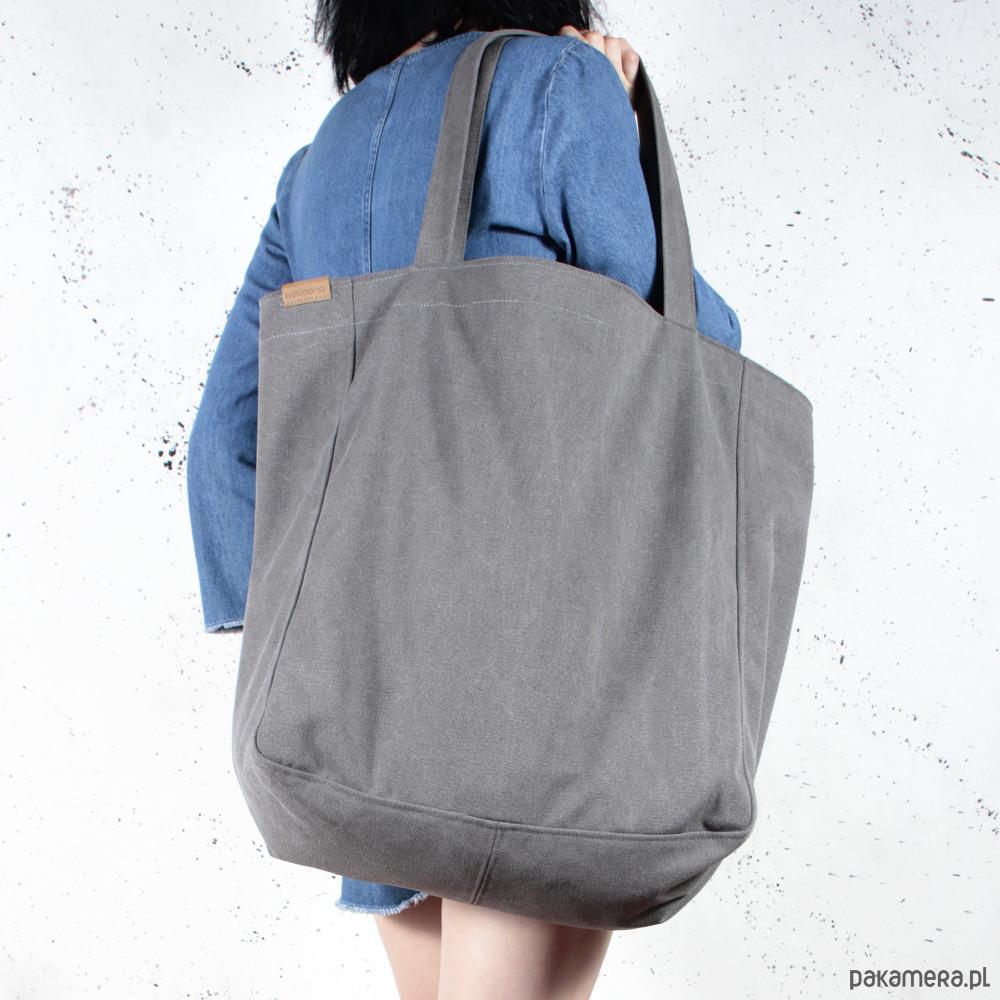 86477b03 Big Lazy bag torba grafitowa na zamek / vegan - Pakamera.pl