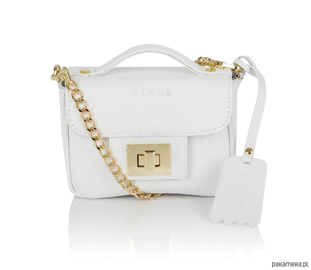c1f806e19df3e Skórzana torebka kuferek biała złote dodatki - torebki mini ...
