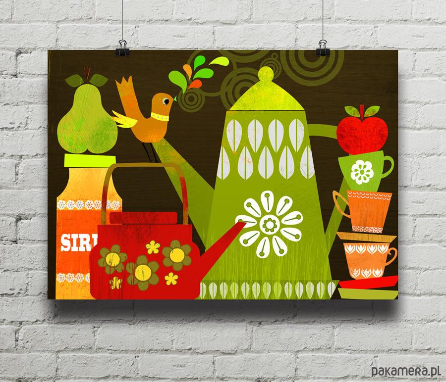 Retro Kuchnia Plakat Giclee Pakamerapl
