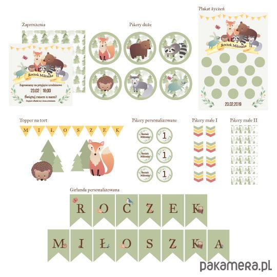 7f5b0c4595f241 ZESTAW ZWIERZĘTA LEŚNE dekoracje papierowe - akcesoria różne ...