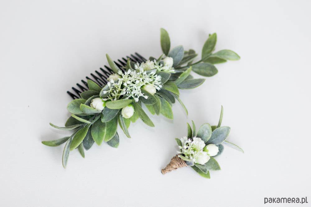 c8b76df5305669 Grzebień z kwiatami -+ butonierka - do włosów - spinki i klamry ...