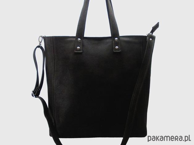 0276fed09f230 Skórzana czarna duża torebka damska - torby na ramię - damskie ...