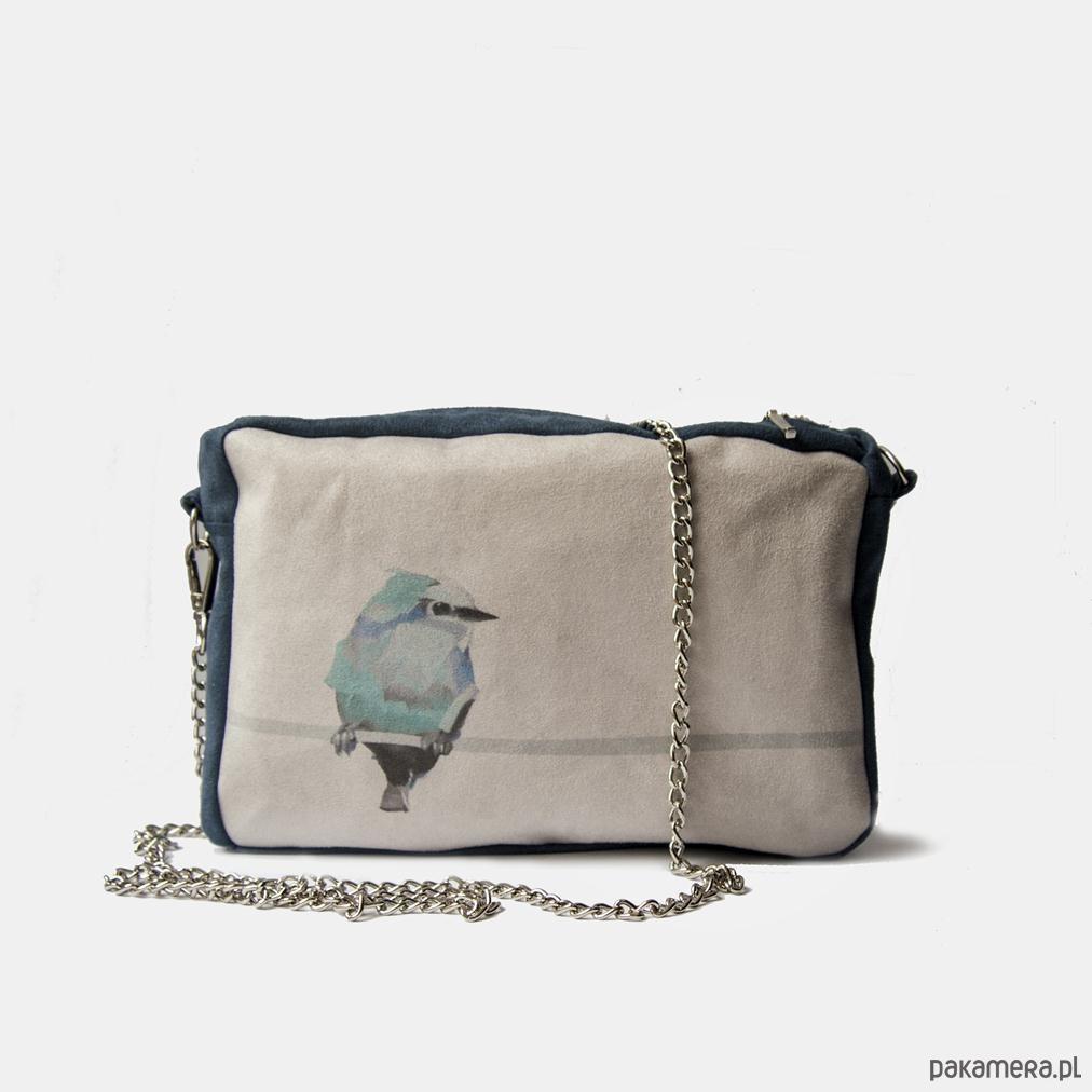d5cd1ec3b0565 Niebieska torebka na łańcuszku z ptakiem - torebki mini - Pakamera.pl