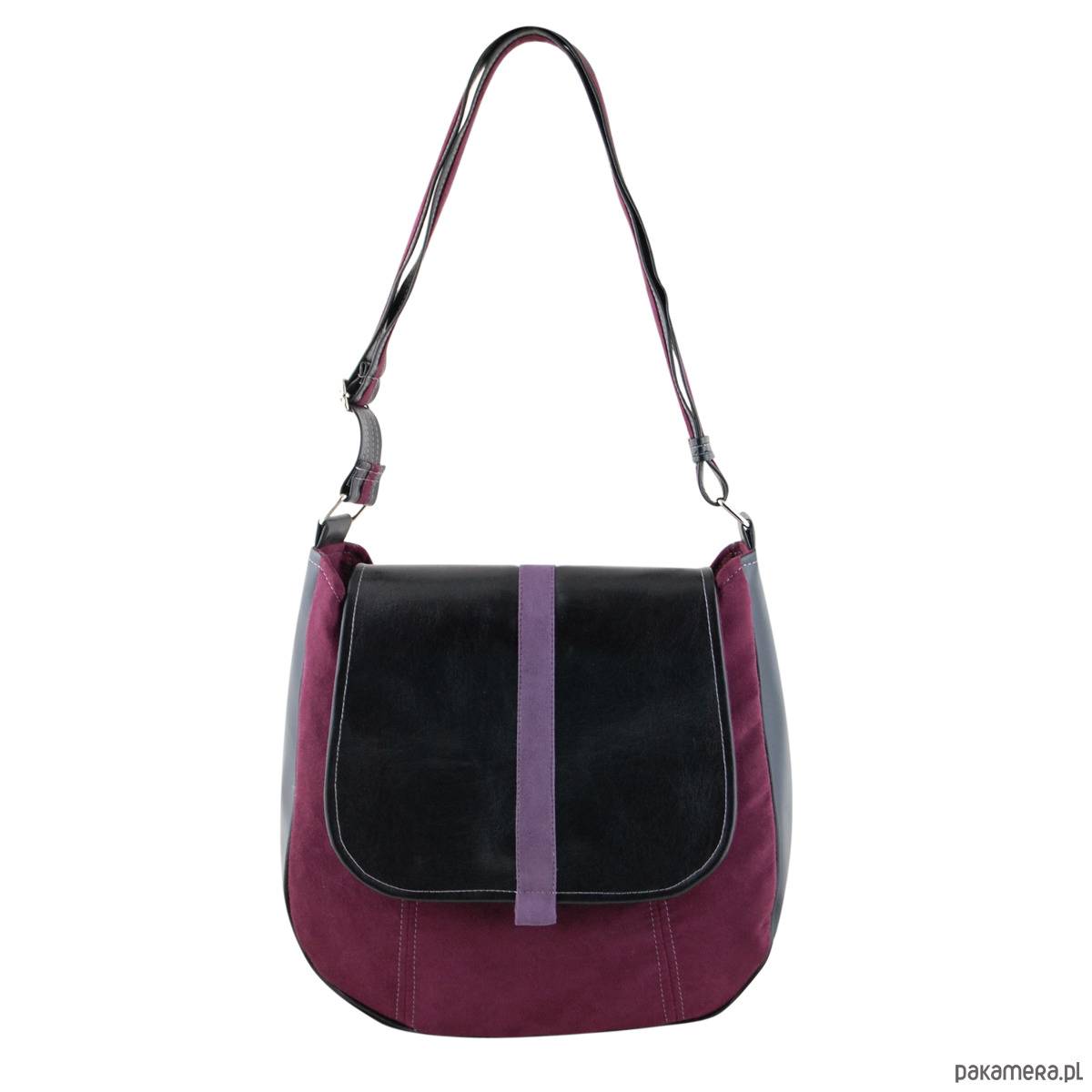 b4e3a634a4637 SASHKA - torebka na ramię - czerń i bordo - torby na ramię - damskie -  Pakamera.pl