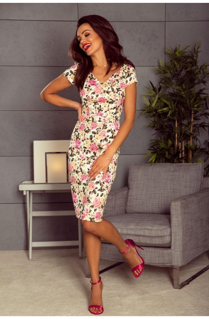 Elegancka sukienka dzienna (róże na ekri)