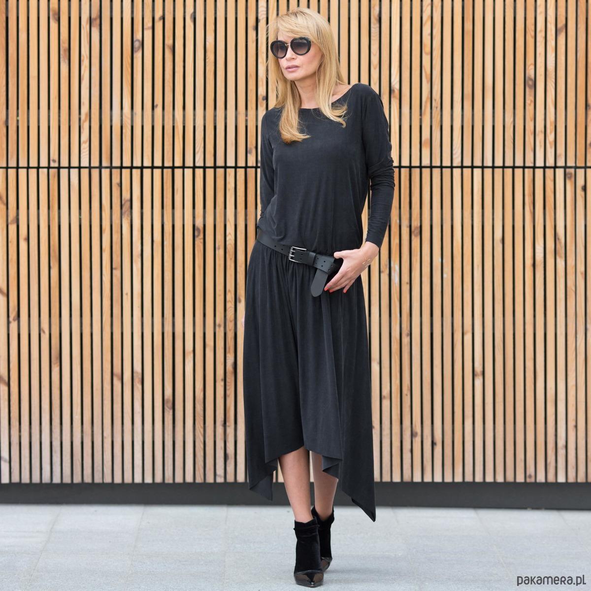 Sukienka Maxi Asymetric Black Rock