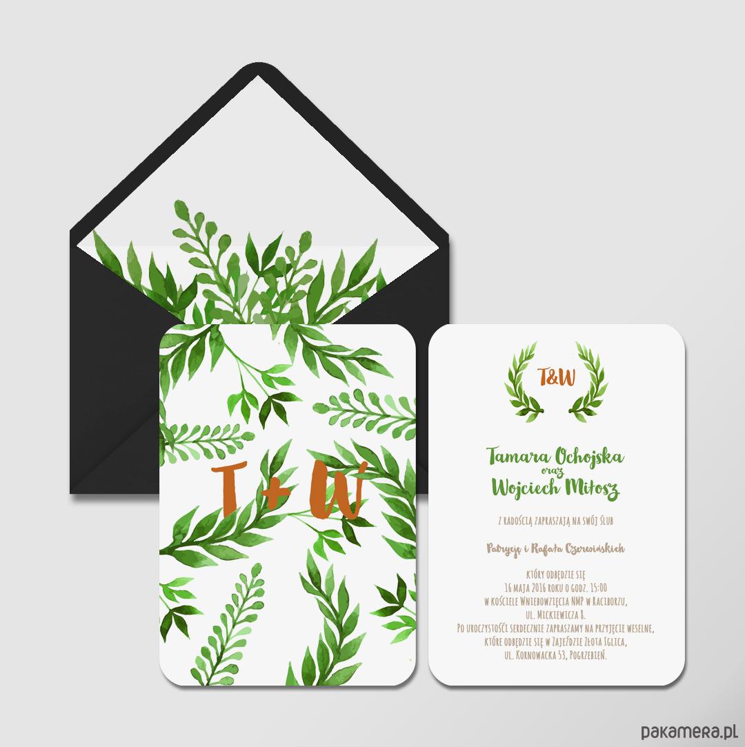 Zaproszenie ślubne Botaniczne ślub Zaproszenia Kartki Pakamerapl
