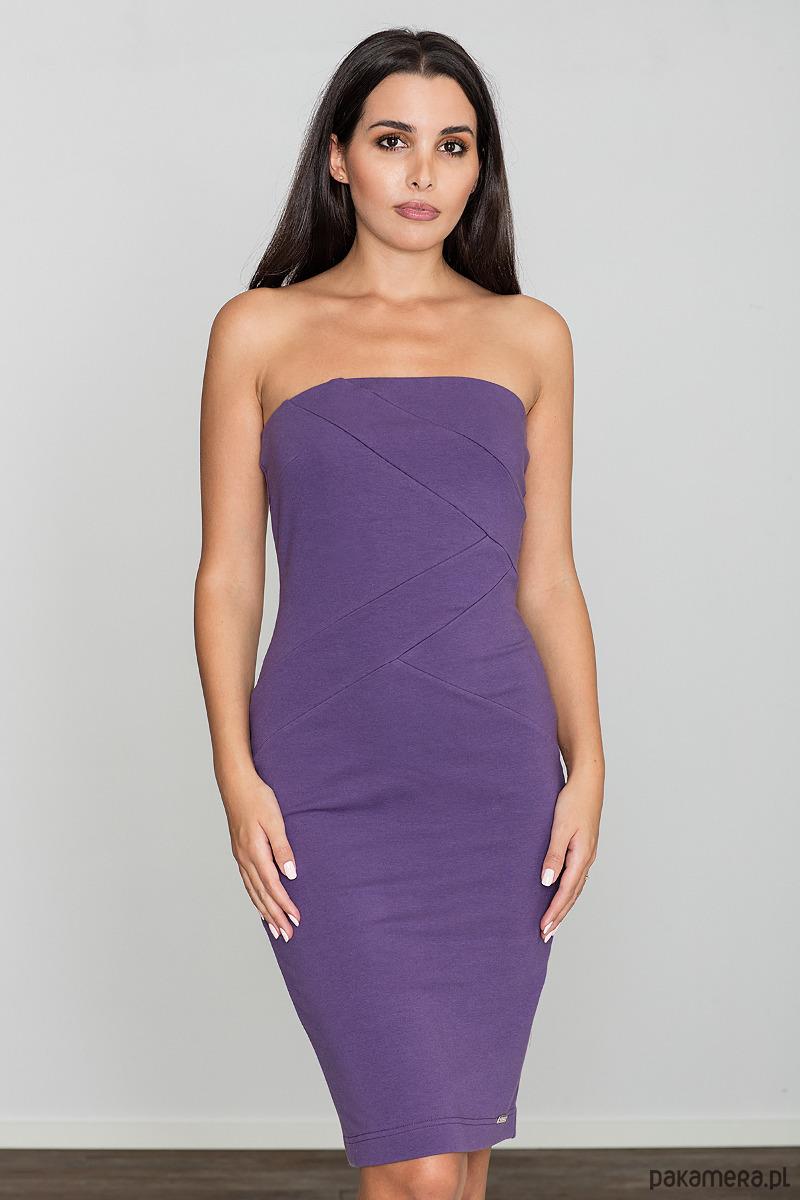 Sukienka dopasowana mini m575 fiolet