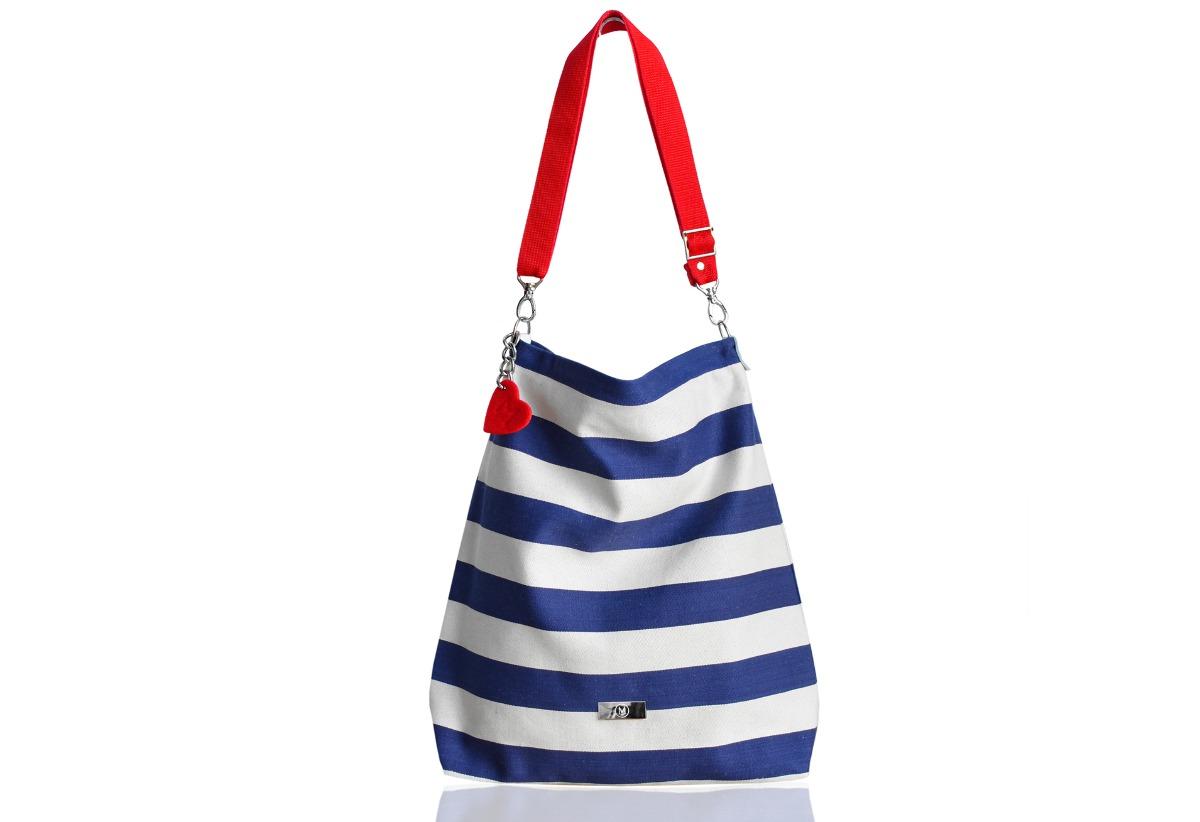 dbe39c56f76b8 torby na ramię - damskie-Marynarski worek w pasy z blaszką  torba plażowa