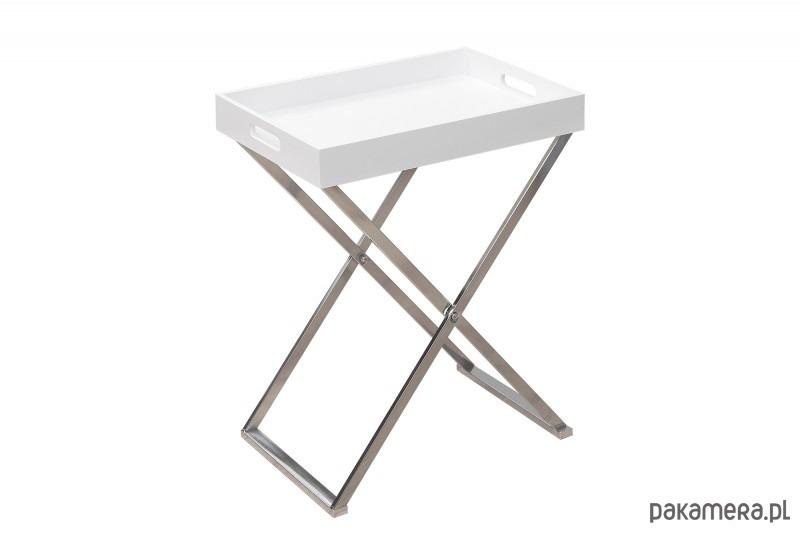 Stolik Kawowy Piano Biały Chrom 62cm Pakamerapl